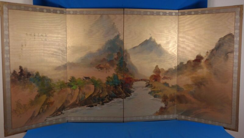 Vintage Japanese Original 4 Panel Folding Screen Byobu Painting on Silk