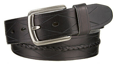 Middle Braided Diamond Line Design Italian Genuine Leather Belt 1 1/2