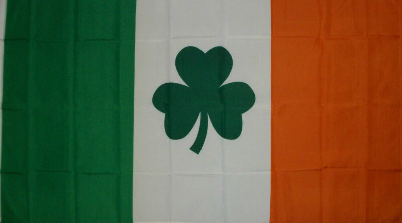 IRISH SHAMROCK CLOVER LEAF IRELAND ST PATRICKS DAY FLAG NEW 3x5ft better quality