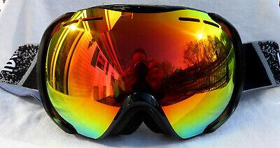 NEW $120 Bolle Mens Orbit Black Ski Goggles With RARE Fire Orange Mirror Lens