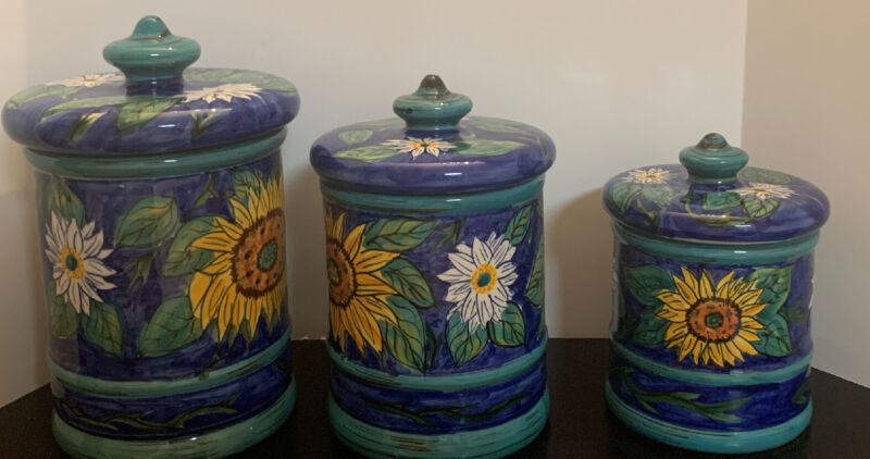 Bella Casa Valerio Ceramic Canister by Ganz Blue Sunflower & Daisies Set Of 3
