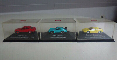 HERPA H0 3x Messemodelle Consument, BMW 525i, Ferrari, Porsche, Neu und in PC