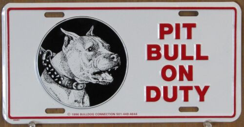 Pit Bull Terrier Vintage Pit Bull On Duty Licence Plates, Lot of 5
