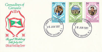 GRENADA GRENADINES 16 JUNE 1981 ROYAL WEDDING OFFICIAL FIRST DAY COVER