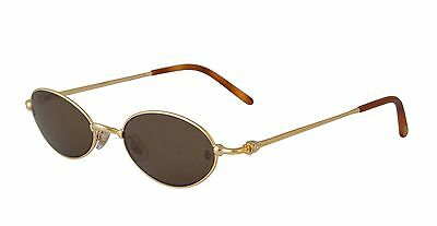 NEW CARTIER SUNGLASSES MIZ82PZ3 GOLD OVAL FRAME BROWN LENS FRANCE AUTHENTIC 47mm