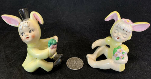 Vintage 1958 Holt Howard Japan Easter Yellow Bunny Candle Huggers Climbers