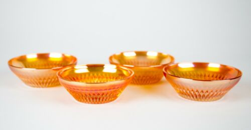 Jeannette Glass Anniversary Iridescent Marigold Fruit Dessert Bowls Set of 4
