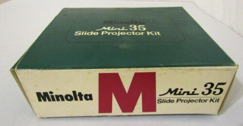 VINTAGE IN BOX MINOLTA MINI 35 COLOR SLIDE PROJECTOR W/CARRYING CASE WORKS