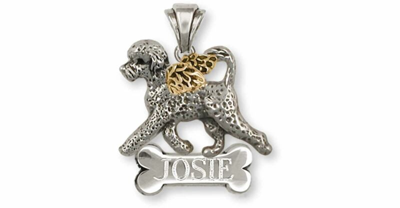 Portuguese Water Dog Angel Jewelry Silver And 14k Gold Handmade Portuguese Water