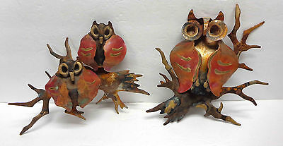 Mid Century Brutalist Steel Wall Owl Ornaments In The Style of Jeré LOT Of Two!