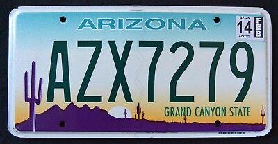 "ARIZONA "" GRAND CANYON STATE "" AZX 7279 "" 2014 AZ Graphic License Plate"