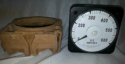 Nos Vintage General Electric A-c Ammeter 0-600 Amperes Model Ab 18
