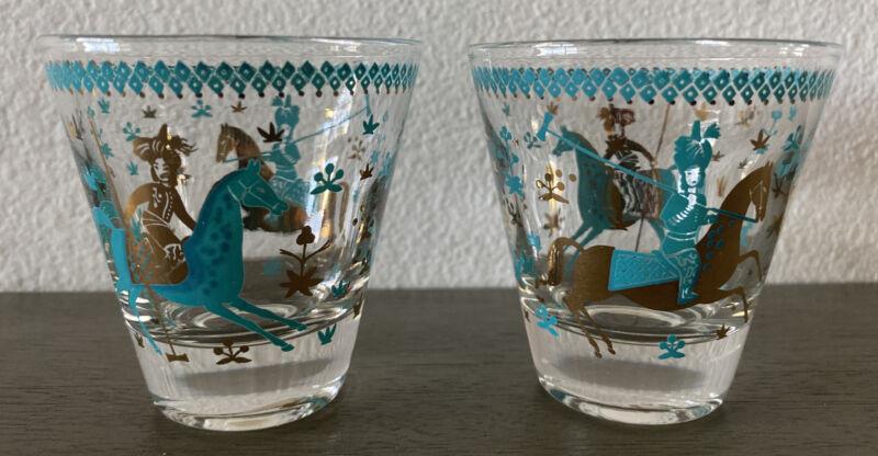 Vintage MCM Arabian Knights Lowball Glasses 50s Barware Cera Persian Polo
