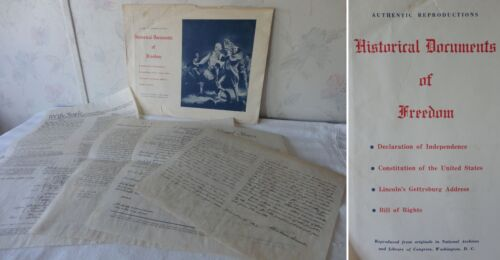 4 Vintage AUTHENTIC Reproductions of Original Historical Documents of Freedom