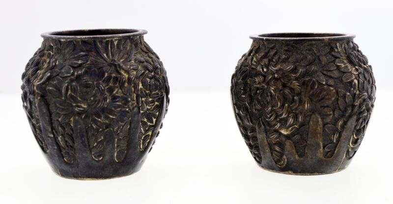 Konoike Meije Yokohoma Jungin Pure Silver Repousse Chrysanthemum Salt Cellars