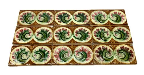 Light Brown Tile Set with Pink & Green Flowers