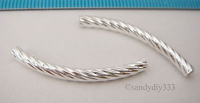 2x BRIGHT STERLING SILVER TWIST CURVE BRACELET TUBE SPACER BEAD 32mm x 3mm #2461