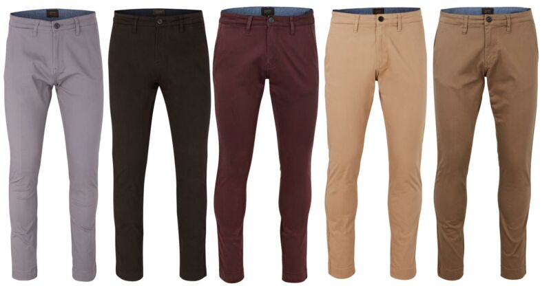 Mens Chino Pants Cotton Slim Fit Stretch Casual Trousers