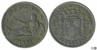 España 2 pesetas 1869 (*18*69) SNM Ag MBC Gobierno Provisional     , usado segunda mano  Barcelona