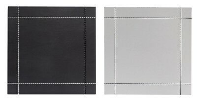 Faux Leather Stitch Set of 4 Square Placemats Reversible Black / White
