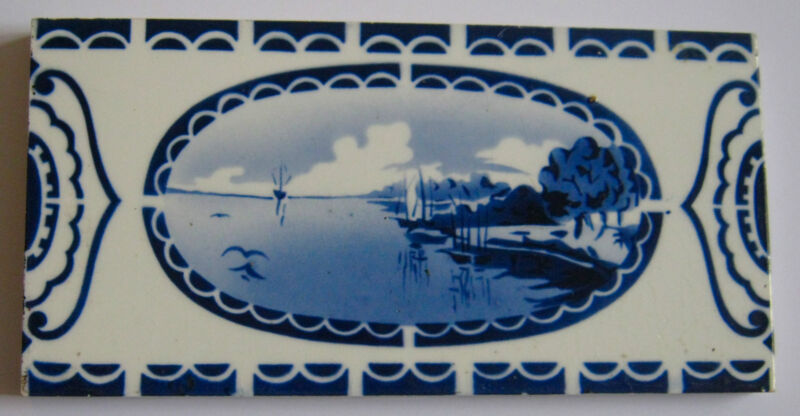 Antique Tile Somag Meissen Porcelain Cobalt & White Ship Scene