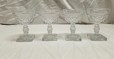 4  IMPERIAL GLASS CAPE COD  FOOTED SHERBET / CHAMPAGNE GOBLETS