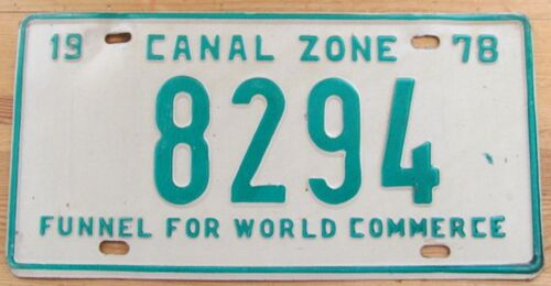 Panama 1978 CANAL ONE FUNNEL FOR WORLD COMMERCE License Plate HIGH QUALITY #8294
