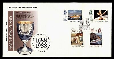 DR WHO 1988 ASCENSION ISLAND FDC LLOYD'S HISTORIC SILVER COLLECTION C243978