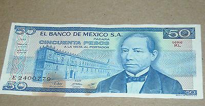 Vintage Mexican Mexico 50 Cincuenta  Paper Money Banknote
