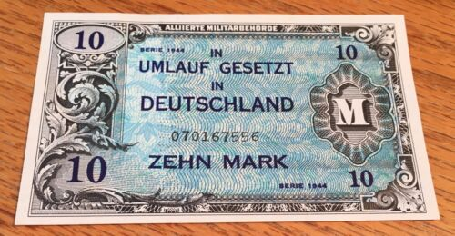 Germany 1944 10 Mark Allied Military Currency Uncirculated - High Quality Scans