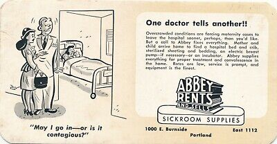 Vintage Portland, OR Abbey Rents, Sickroom Supplies, Advertising Blotter