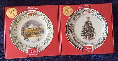 Two Lenox 2014 Annual Holiday Collector Plates Carousel   Finland Christmas Tree