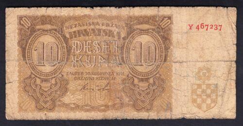 Croatia 10  Kuna 1941  Very Poor P. 5,  Banknotes, Circulated