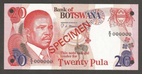 Botswana 20 Pula N.D. (1982); UNC; P-10s2, L-B110bs1; SPECIMEN; Mining conveyors