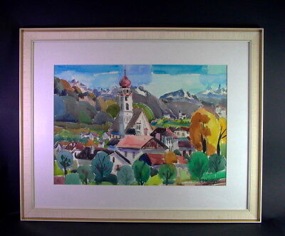 Hans WAIBLINGER (1920-2004) - Meran Tisens Südtirol - grossform. Aquarell