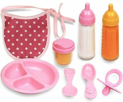 Click N' Play 8 Piece Baby Doll Feeding Set with Accessories. Baby Doll Feeding Set