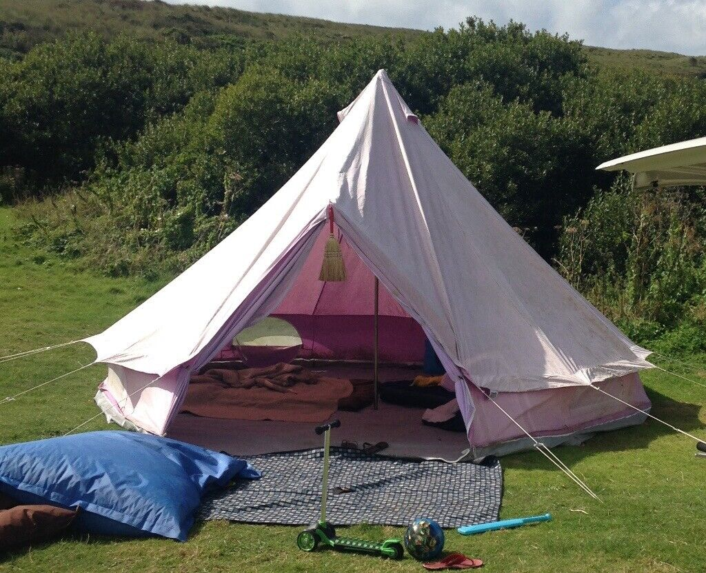 Boutique Camping 5m Lilac canvas bell tent with Canopy Awning for glamping   in Newquay, Cornwall   Gumtree