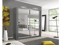 ☀️☀️EASY TO ASSEMBLE☀️☀️2 DOOR BERLIN SLIDING WARDROBE FULLY MIRROR WITH SHELVES AND HANGING RAILS