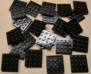 x25-NEW-Lego-Black-Plates-4x4-Brick-Building-Black-Baseplates