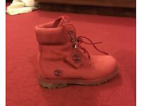 "Women's red nubuck Timberlands 6"" size 4"
