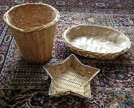 For sale is a small Wicker waste basket, Star shaped and oval bowels.