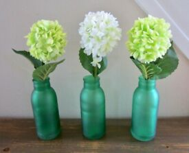 3 Decorative Bottles with Geranium Flowers New.