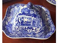 Vintage Copeland Spode Blue Italian Square Porcelain Vegetable Dish & Lid