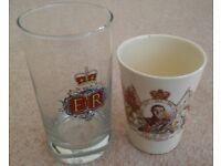Elizabeth II Silver jubilee 1977 glass & King Edward VIII coronation beaker/cup