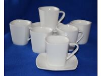 Espresso Cups & Saucers Set of 6, White, Unique 4-sided design. VGC ~ Hardly Used