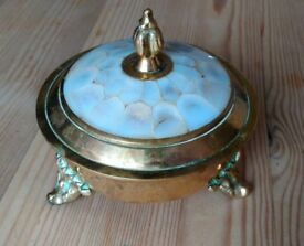 Vintage Trinket Pot with Ivory Style Lid - Ornate, Decorative Storage Bowl