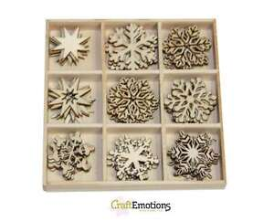 45 Wooden Shapes Snowflakes Christmas Assorted Craft Embellishments CLEARANCE