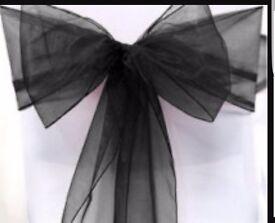60 black chair sashes