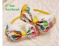 Girls handmade Easter hair bow band clip