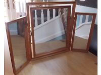 Wooden three part mirror for dressing table or any worktop